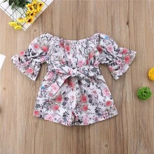 Floral Bell sleeve shorts romper